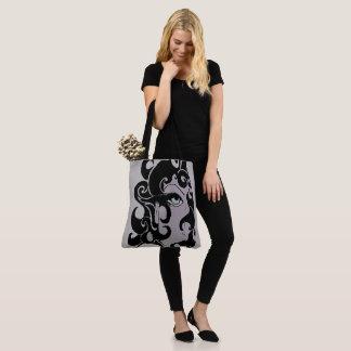 lila zwart mod., modelwijnoogst van het jaren '70 draagtas