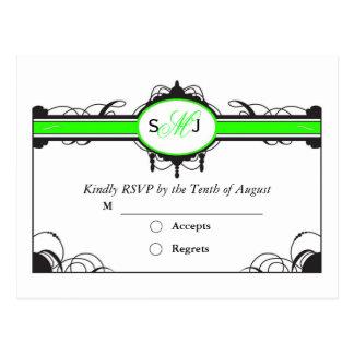 limoen groene weddng rsvp briefkaart
