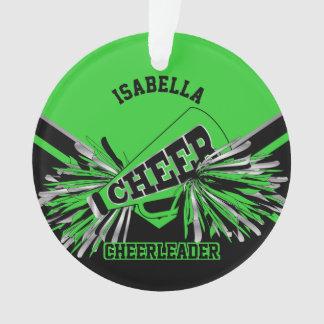 Limoen Groene, Zilveren en Zwarte Cheerleader Ornament