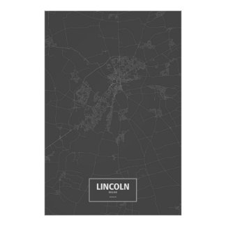 Lincoln, wit Engeland (op zwarte) Poster