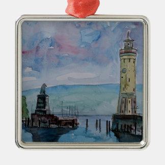 Lindau met Leeuw en Lighttower op het Meer van Zilverkleurig Vierkant Ornament