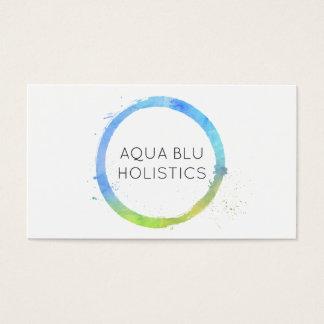 Logo van de Cirkel van Aqua Blauwe het Waterverf Visitekaartjes