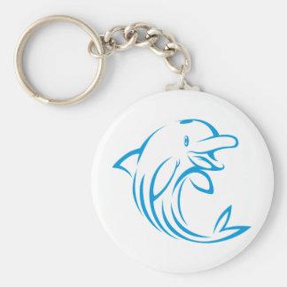 Logo van de Dolfijn van de douane het Blauwe Basic Ronde Button Sleutelhanger