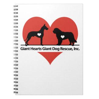 Logo van de Redding van de Hond van reuzeHarten Ringband Notitieboek