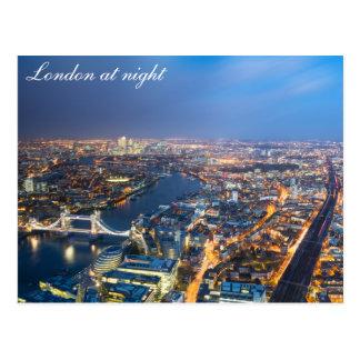 Londen bij nacht - het Luchtbriefkaart van het Briefkaart