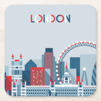 Londen, Engeland | Rode, Witte en Blauwe Horizon Vierkante Onderzetter