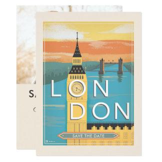 Londen | sparen de Datum - Foto 13,9x19,1 Uitnodiging Kaart