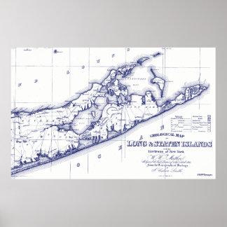 Long Island de Hamptons Kaart VC Poster