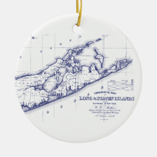 Long Island de Hamptons Kaart VC Rond Keramisch Ornament