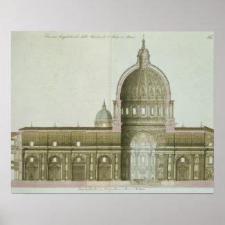 Longitudinale Dwarsdoorsnede van St. Peter in Rome Poster