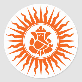 Lord Ganesha Sign Ronde Sticker