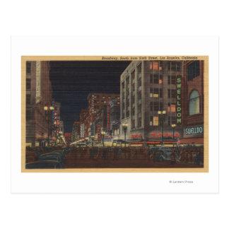 Los Angeles, Uitzicht CASouth van Broadway van Briefkaart