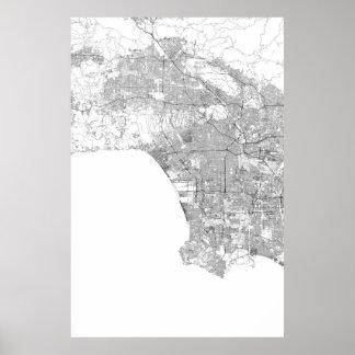 Los Angeles, zwart Californië (op wit, spatie) Poster