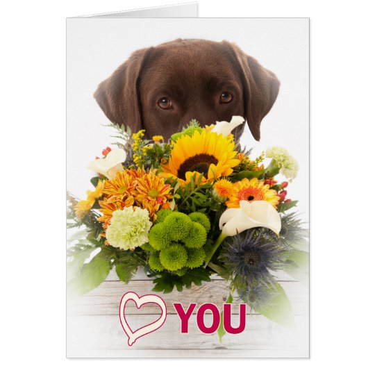 Love and flowers with Labrador dog Briefkaarten 0