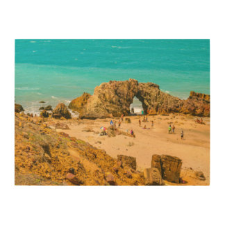 Lucht Uitzicht Pedra Furada Jericoacoara Brazilië Hout Afdruk