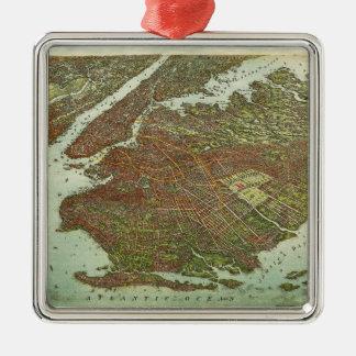 Lucht Uitzicht van Brooklyn, New York (1908) Zilverkleurig Vierkant Ornament