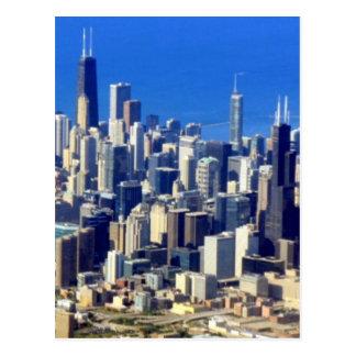Lucht uitzicht van Chicago de stad in met Meer Briefkaart