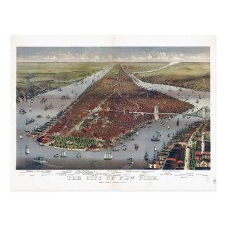 Lucht Uitzicht van de Stad van New York (1884) Briefkaart
