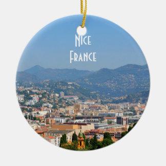 Lucht uitzicht van de stad van Nice in Frankrijk Rond Keramisch Ornament