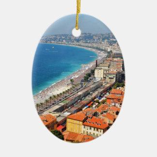 Lucht uitzicht van Franse Riviera in Nice, Keramisch Ovaal Ornament
