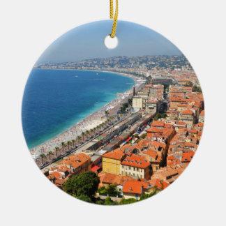 Lucht uitzicht van Franse Riviera in Nice, Rond Keramisch Ornament