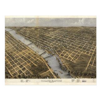 Lucht Uitzicht van Grand Rapids, Michigan (1868) Briefkaart