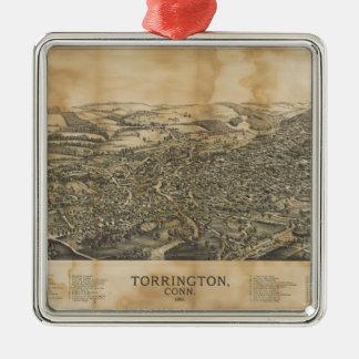 Lucht Uitzicht van Torrington, Connecticut (1889) Zilverkleurig Vierkant Ornament