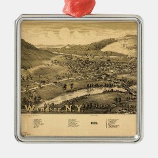 Lucht Uitzicht van Windsor, New York (1887) Zilverkleurig Vierkant Ornament