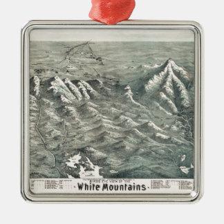 Lucht Uitzicht van Witte Bergen, 1890 Van Zilverkleurig Vierkant Ornament