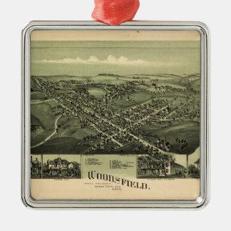 Lucht Uitzicht van Woodsfield, Co. Ohio van Monroe Zilverkleurig Vierkant Ornament