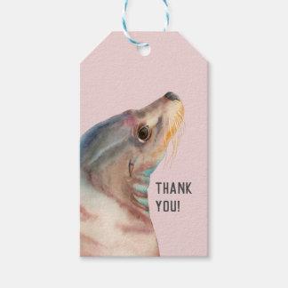 Luie Blik   Illustratie   van de Zeeleeuw dankt u Cadeaulabel