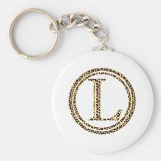 luipaard L Basic Ronde Button Sleutelhanger