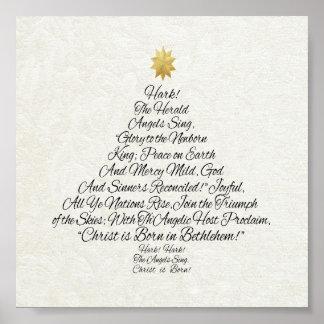 Luister aankondigen Engelen zingen Kerstboom Poster