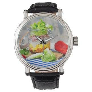 Lunch in een glas horloge