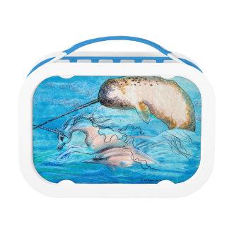 Lunchbox van de eenhoorn, van de Dolfijn en van de