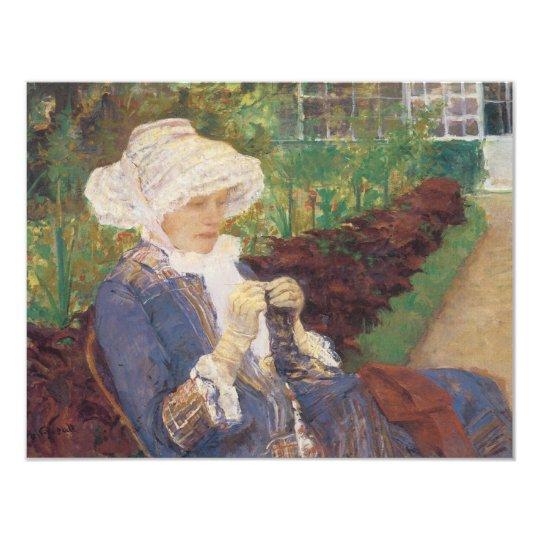 Lydia die in Tuin bij Mergel, Mary Cassatt haakt 10,8x13,9 Uitnodiging Kaart