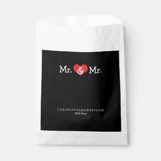 M. en M. Red Heart Wedding Personalized Zakje 0