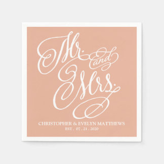 M. en Mevr. Fancy Script Blush Wedding Wegwerp Servet