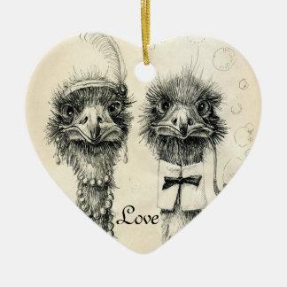 M. en Mevr. Ostrich Keramisch Hart Ornament
