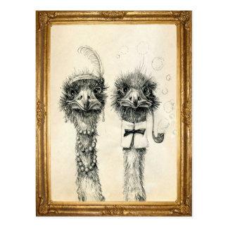 M. en Mevr. Ostrich ontwierpen Briefkaart
