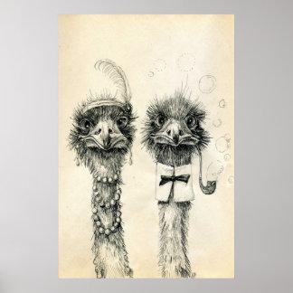 M. en Mevr. Ostrich Poster