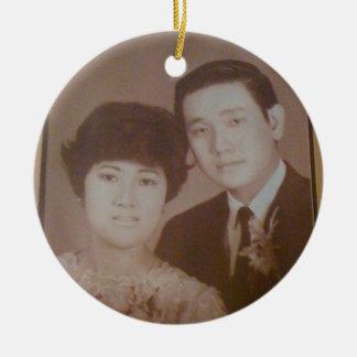M. en Mevr. Wong Rond Keramisch Ornament