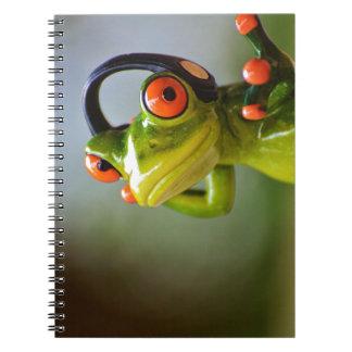 M. Frog met Hoofdtelefoons Ringband Notitieboek