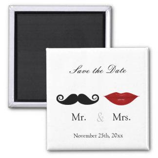 M. & Mevr. Mustache en Lippen - sparen de Datum Vierkante Magneet