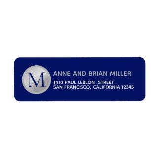 M. mrs surname monogram blauw etiket
