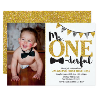 M. ONEderful Birthday Invitation met Foto Kaart