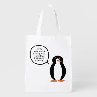 M. Penguin Birthday Suit Herbruikbare Boodschappentas