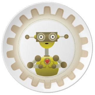 M. Robot met het Hart van het Toestel Steampunk Porseleinen Bord
