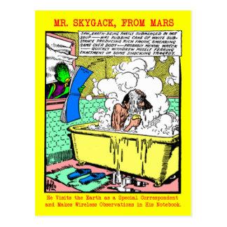 M. Skygack Observes het Baden van het Man Briefkaart