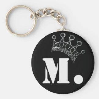 M. witte Productie Keychain Basic Ronde Button Sleutelhanger